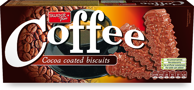 Coffee cocoa biscuits with cocoa coating